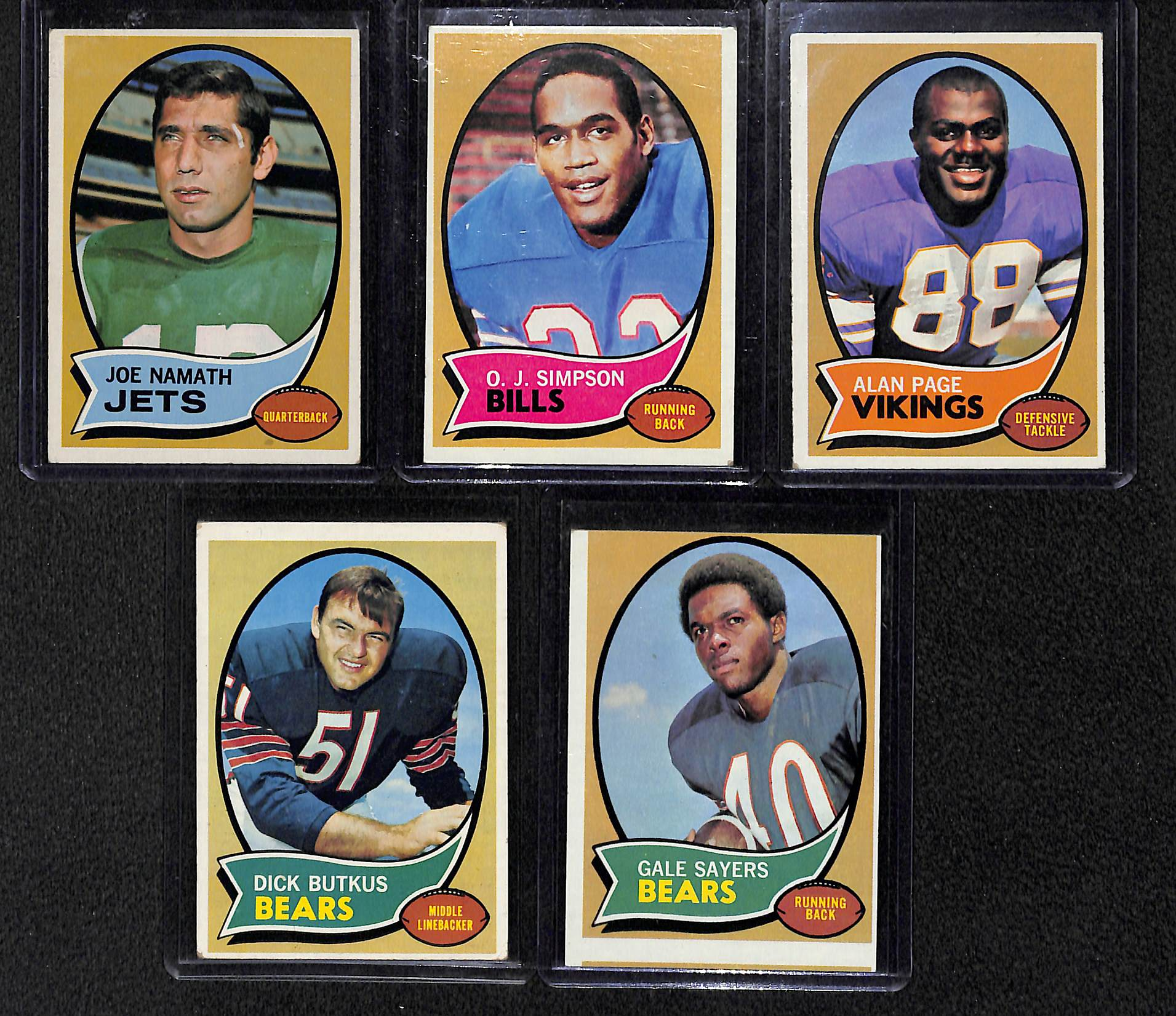 Lot Of 5 1970 Topps Football Cards W. Namath