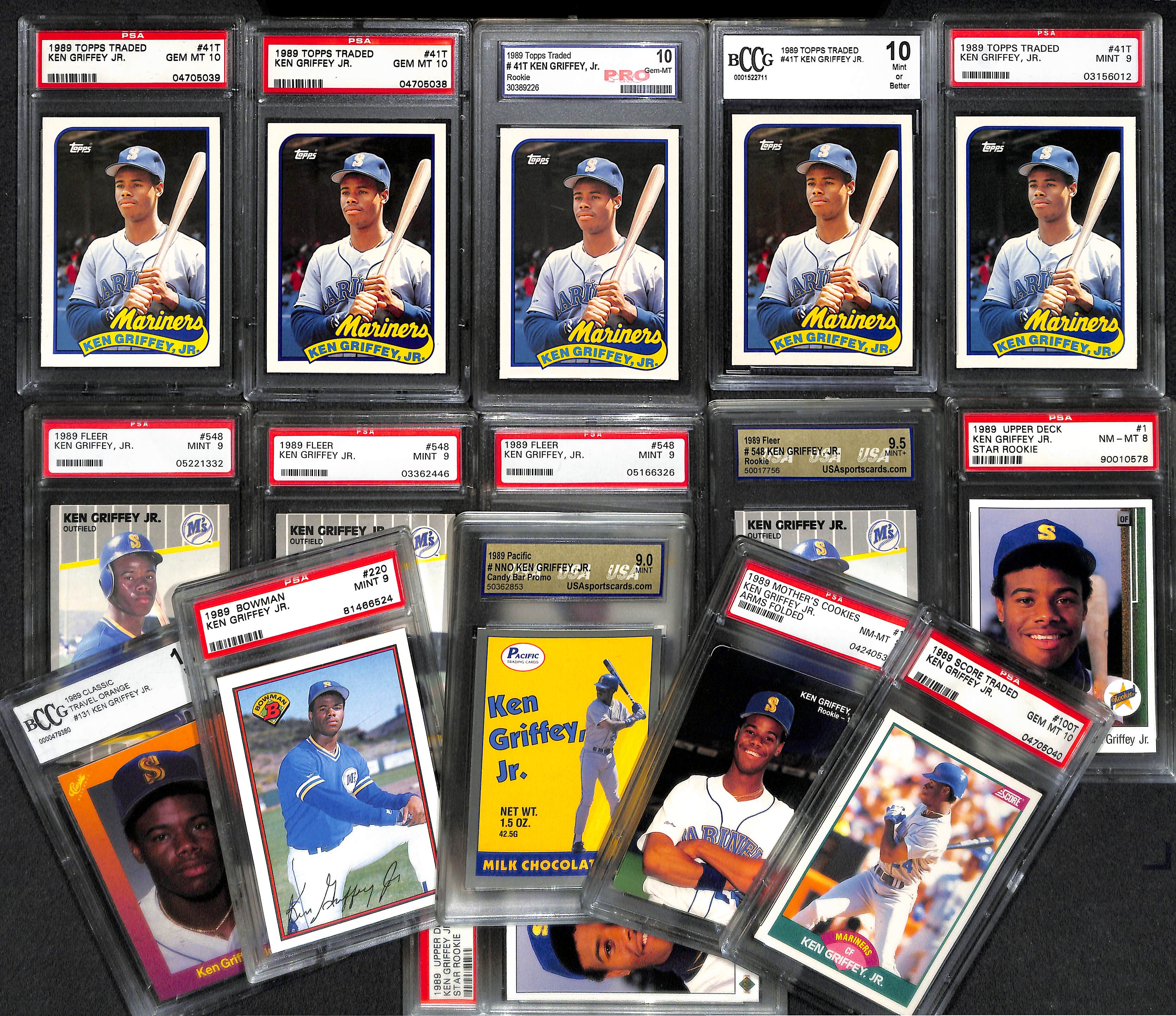 Lot Of 5 Rookie Baseball Cards With Ken Griffey Jr 1989: Lot Of 16 Graded 1989 Ken Griffey Jr Rookie Cards