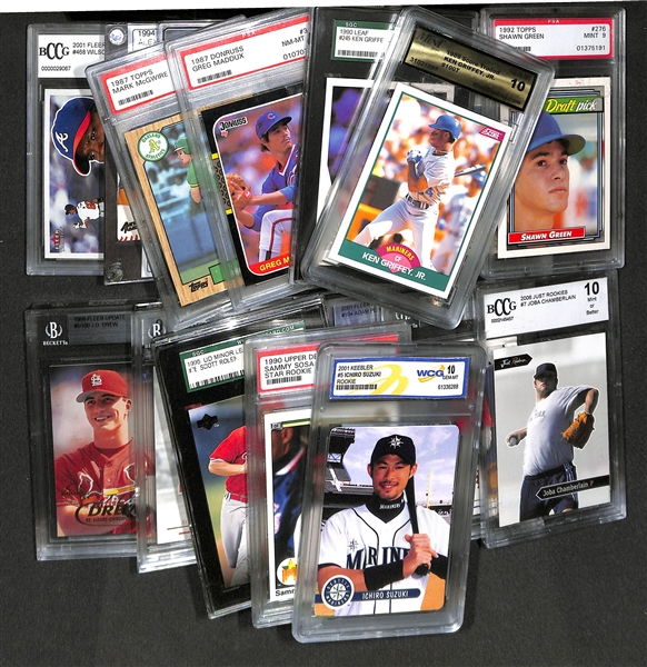 Lot Of 5 Rookie Baseball Cards With Ken Griffey Jr 1989: Lot Of 20 Graded Baseball Cards Inc. Rookies