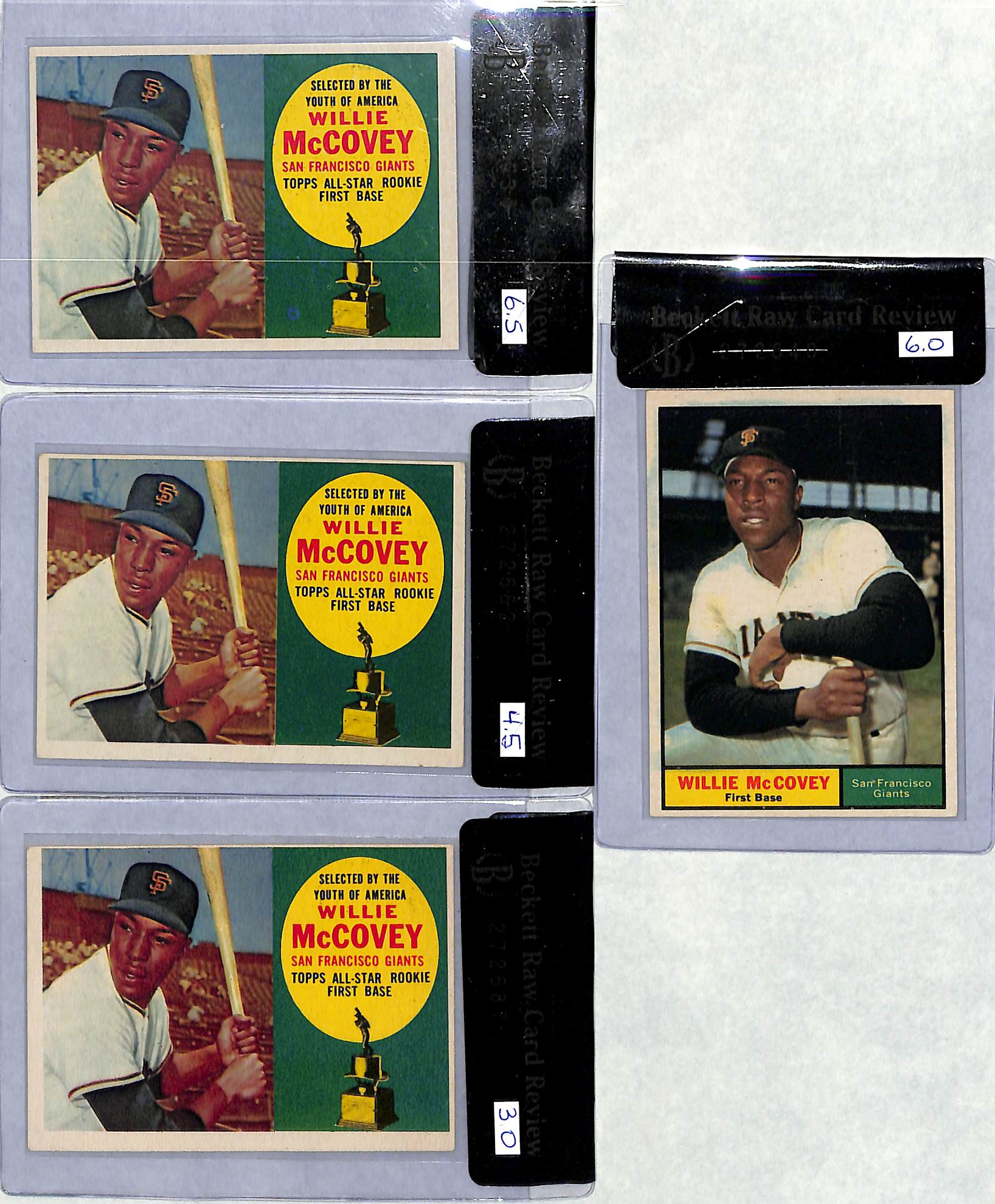 (4) Card Willie McCovey 1960-1961 Topps Lot
