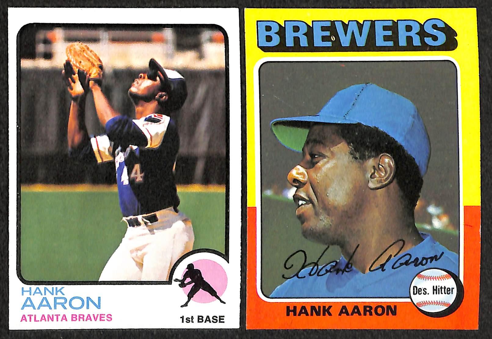Lot Detail Hank Aaron Topps Baseball Card Lot Of 9 Cards