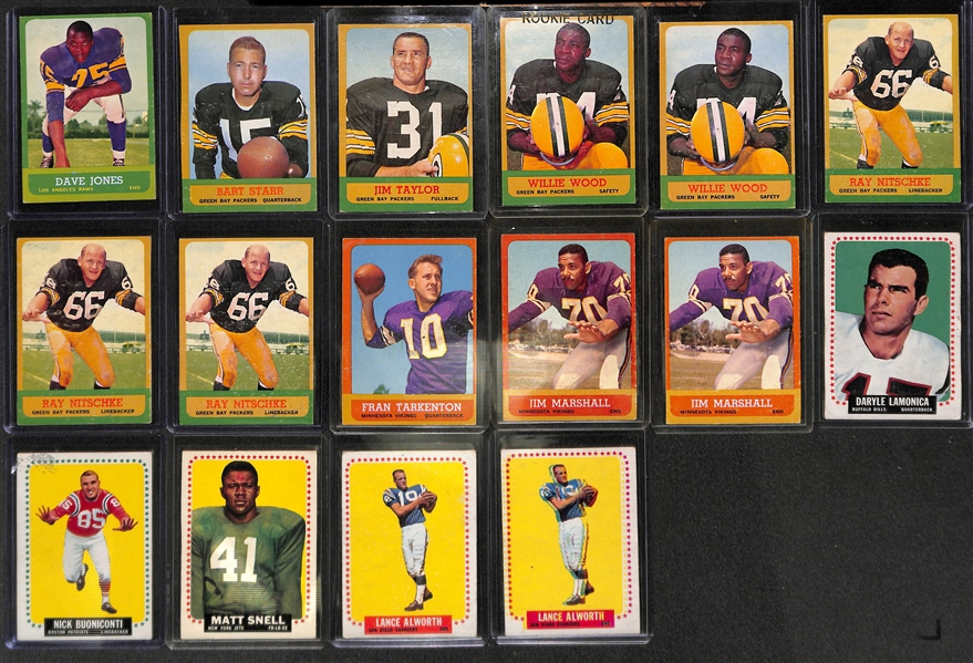 Lot Detail Lot Of 16 1963 64 Topps Football Star Cards W