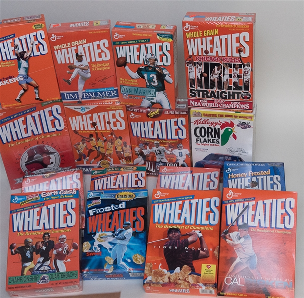 Huge Bulk Lot Of 33 Sports Cereal Boxes