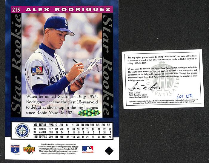 Lot Detail Rare 1995 Alex Rodriguez Signed Upper Deck 5x7