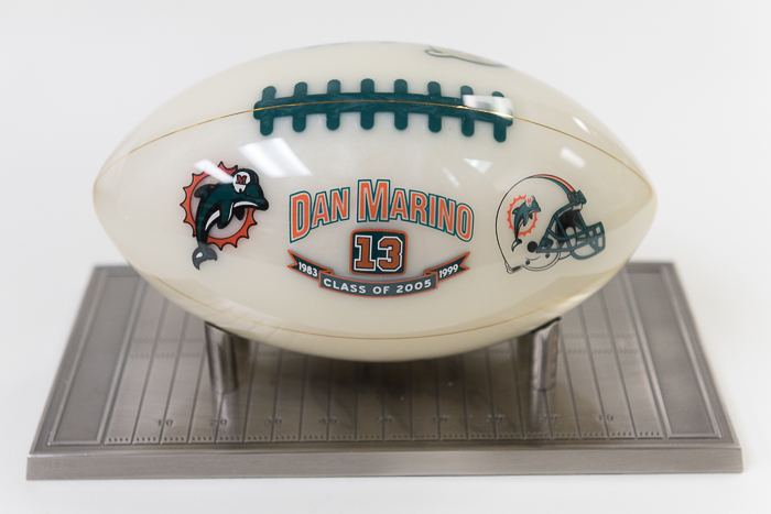 4a04ab5a9c8 Lot Detail - Dan Marino Signed Gemstone Football - Mounted Memories