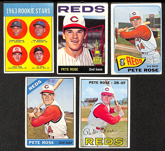 Lot Detail Lot Of 5 Topps Pete Rose Baseball Cards