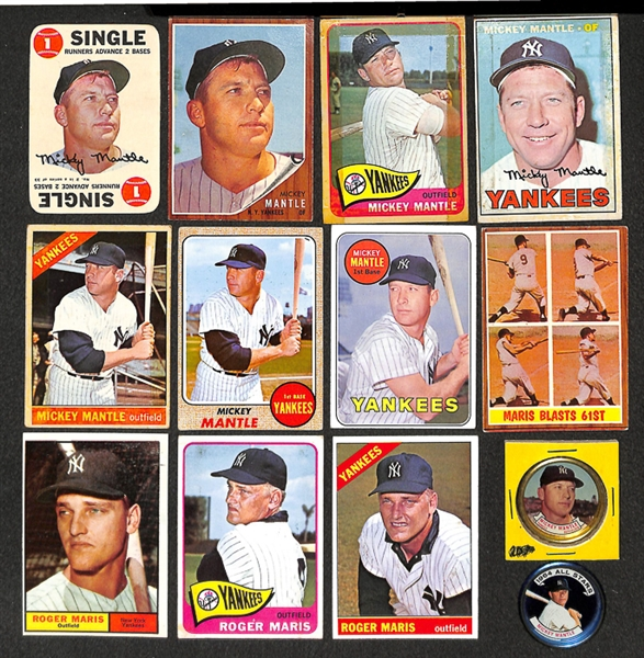Lot Detail Lot Of 13 Mickey Mantle Roger Maris Cards Coins