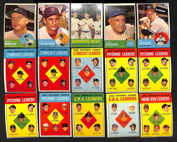 Lot Detail Lot Of 450 1963 Topps Baseball Cards W Mickey Mantle