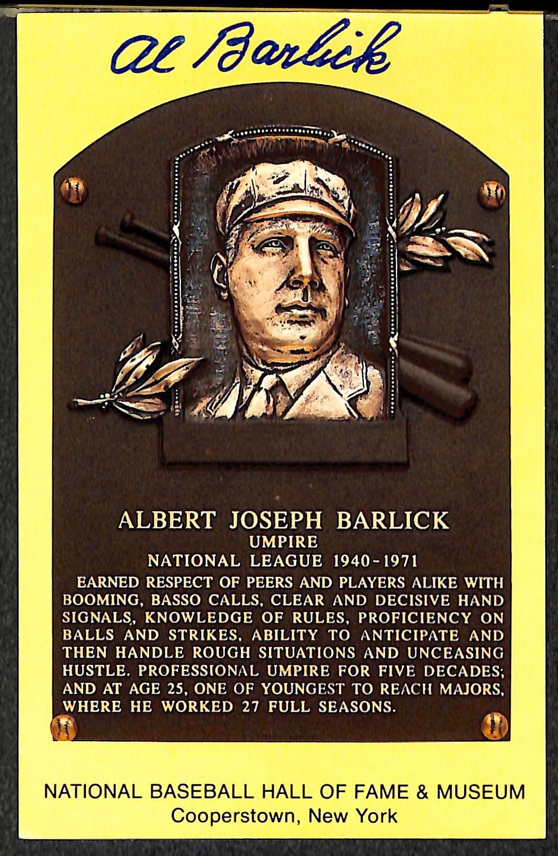 lot detail jocko conlan and al barlick signed baseball hall of fame plaque post cards w jsa. Black Bedroom Furniture Sets. Home Design Ideas
