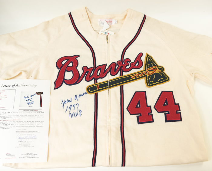 Beautiful Hank Aaron Signed Mitchell   Ness Milwaukee Braves Jersey (JSA LOA)  ... 56dfd9239