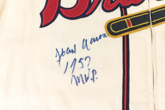... Beautiful Hank Aaron Signed Mitchell   Ness Milwaukee Braves Jersey (JSA  LOA) ... 526b3b79a