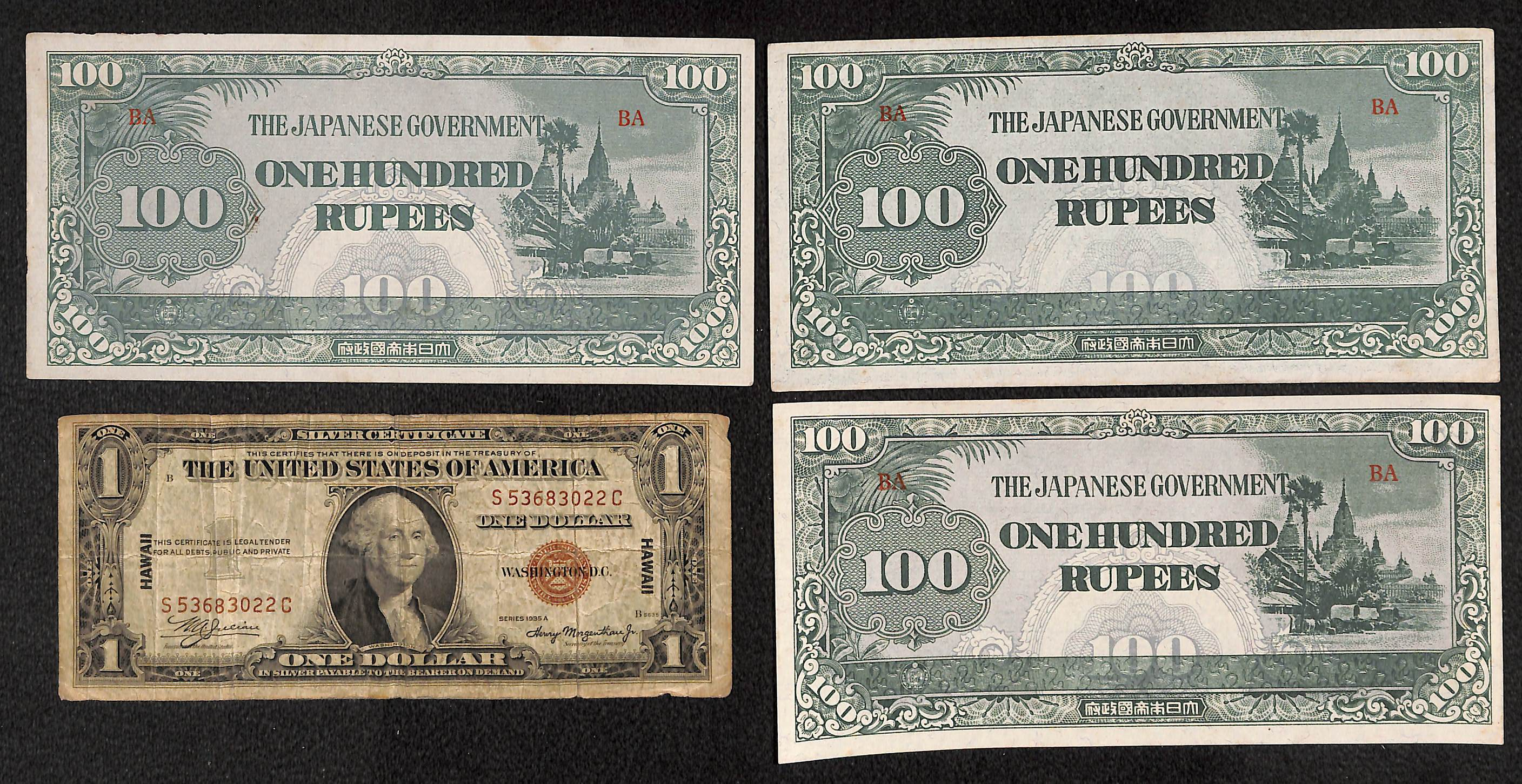 Lot detail us 1935 hawaii silver certificate 1940s japanese us 1935 hawaii silver certificate 1940s japanese burma occupation currency xflitez Images