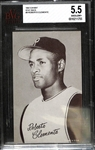 1962 Exhibit Stat Back Roberto Clemente Graded Beckett BVG 5.5