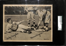 "1936 R311 Leather Finish Honus Wagner & Arky Vaughn 6""x8"" Card Graded SGC 50 (4) VG/EX"