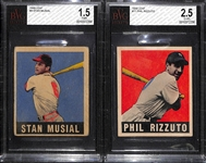 1949 Leaf Baseball Lot - Stan Musial (BVG 1.5) and Phil Rizzuto (BVG 2.5)