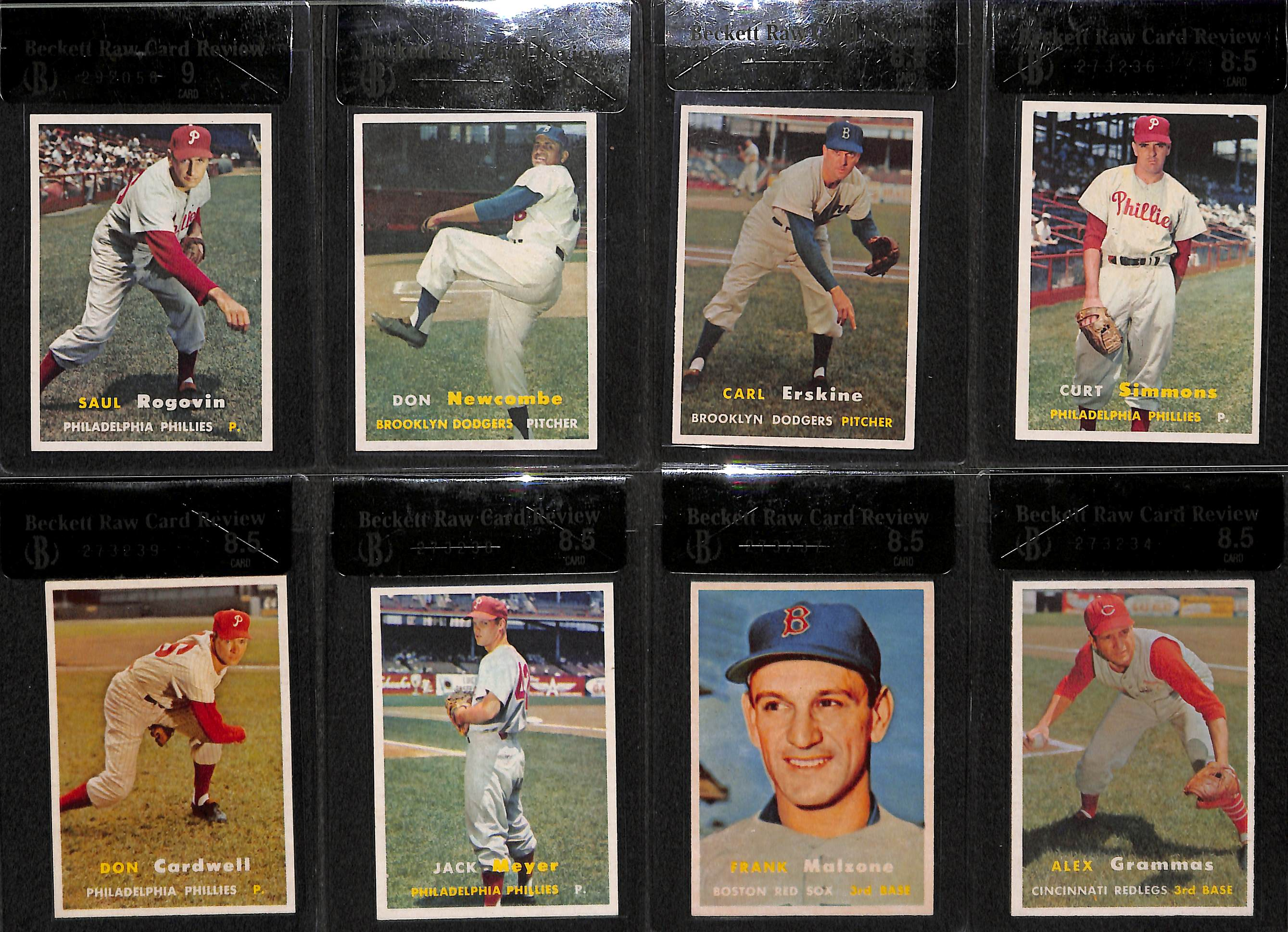 Lot Detail Lot Of 8 1957 Topps Graded Baseball Cards W Rogovin
