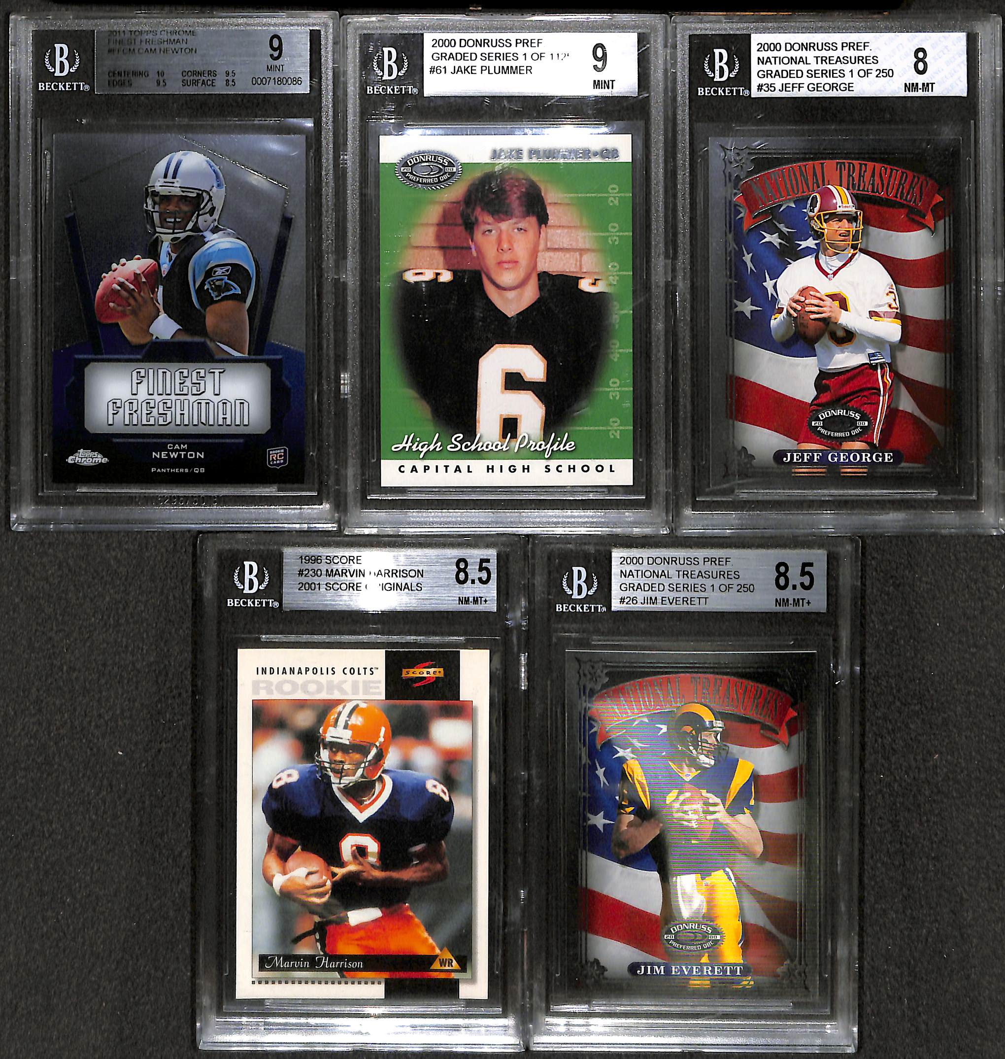 Lot Detail Lot Of 25 Graded Football Cards W Cam Newton Rookie