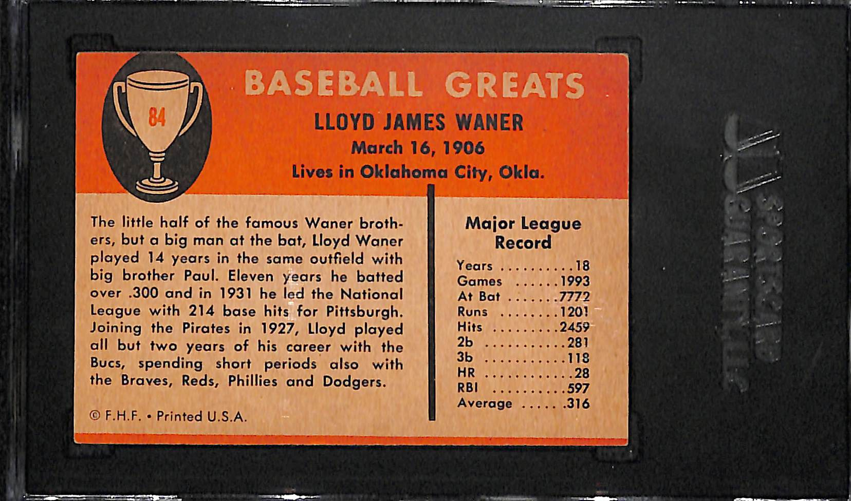 Lot Detail 1961 Fleer Lloyd Waner Hof Signed Baseball