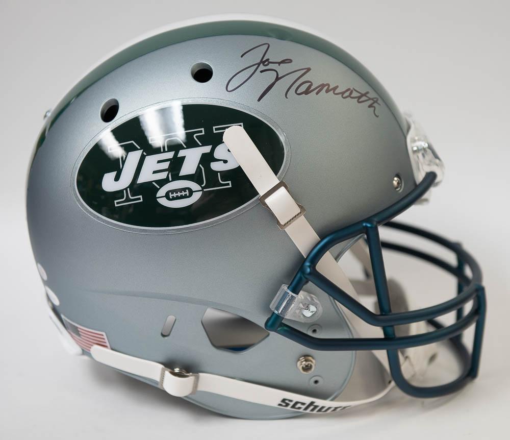 Lot Detail - Joe Namath Signed Full Size Jets Replica Helmet - JSA ec4250984