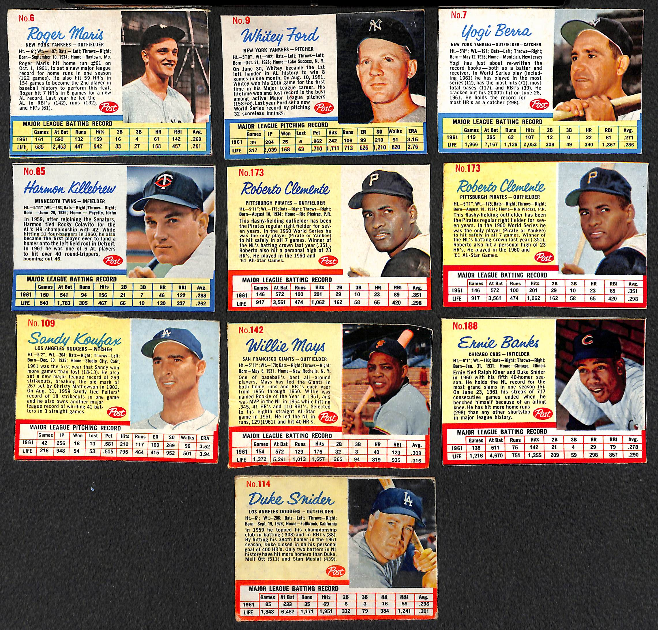 Lot Detail Lot Of 75 1962 Post Cereal Baseball Cards W Roger
