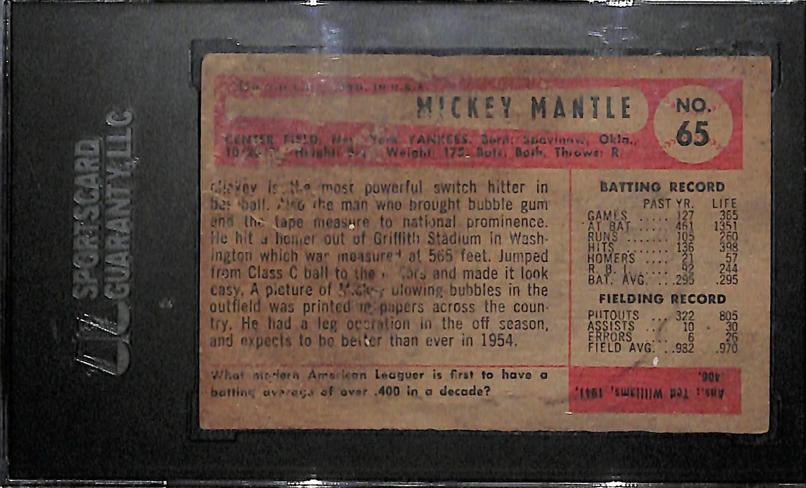 Lot Detail 1954 Bowman Mickey Mantle Baseball Card 65