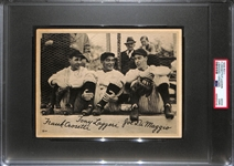 Rare 1936 R311 Joe DiMaggio, Frank Crosetti, and Tony Lazzeri Jumbo Leather Card Graded PSA 2 (MK)