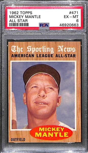 1962 Topps Mickey Mantle All Star #471 Graded PSA 6