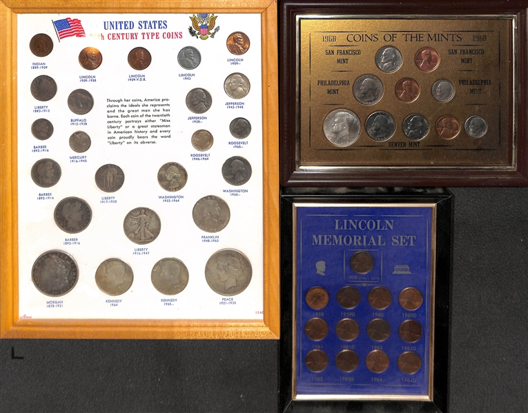 United States 20th Century Type Coins Set (Barber/Liberty/Franklin), 1959-1964D Lincoln Memorial Set & 1968 Coins of the Mints Framed Sets