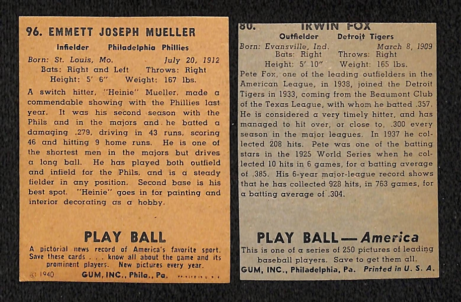 Pete Fox Signed 1939 Play Ball Card and Heine Meuller 1940 Signed Play Ball Card (Both Cards Are Trimmed)  - JSA Auction LOA