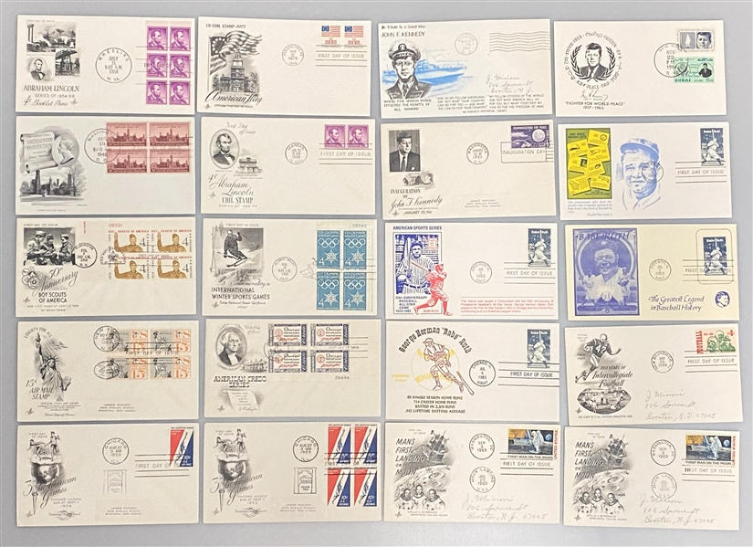 Lot of over (400) 1940s-1983 FDCs w. Babe Ruth, JFK, Space, Presidents, Sports, +
