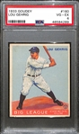 1933 Goudey Lou Gehrig Card (#160) Graded PSA 4