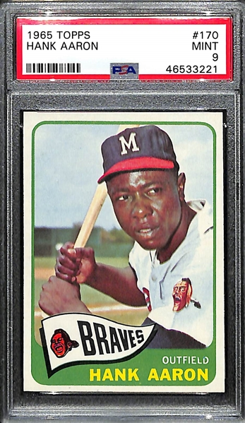 1965 Topps Hank Aaron #170 Graded PSA 9 (RARE HIGH GRADE MINT)