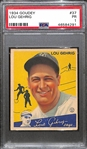 1934 Goudey Lou Gehrig Card (#37) Graded PSA 1