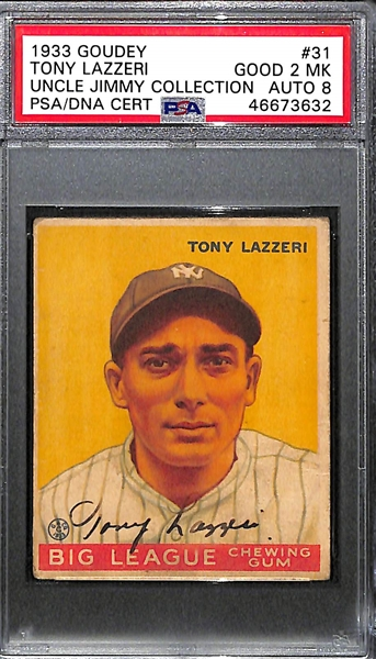 1933 Goudey Tony Lazzeri #31 PSA 2 MK (Autograph Grade 8) - Part of Murderer's Row - Only 1 Graded Higher and 7 Total PSA/DNA Exist (d. 1946)