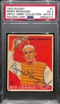 1933 Goudey Benny Bengough #1 Card Graded PSA 3 (Autograph Grade 9) - Pop 1 (Highest Grade of 2 PSA Examples) - Part of the Famous 1920s Yankees (d. 1968)