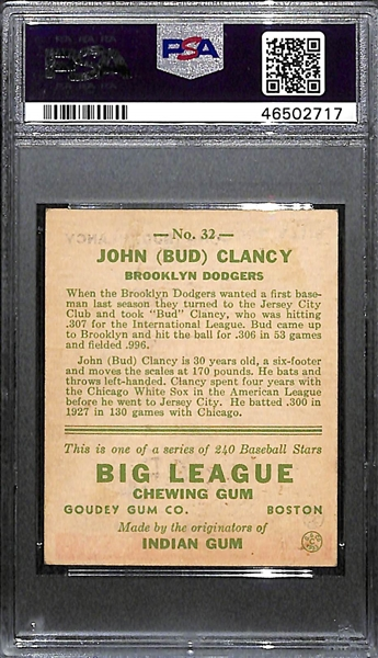 1933 Goudey Bud Clancy #32 PSA 2.5 (Autograph Grade 9) - Highest Grade (Pop 1) - Only 2 Exist (Other One is Authentic)