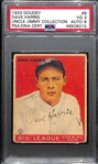 1933 Goudey Dave Harris #9 PSA 3 (Autograph Grade 8).  Pop 1 - Highest Grade Example and Only 4 PSA/DNA Exist! (d. 1973)