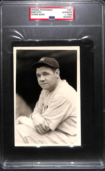 Original 1930s Babe Ruth Type 1 Photo (4x6) From George Burke - PSA/DNA Slabbed - George Burke Stamp on Back - Legendary Babe Ruth Pose!