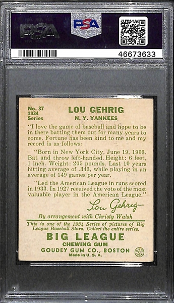 1934 Goudey Lou Gehrig (HOF) #37 PSA 2.5 (Autograph Grade 7) - Pop 1 (Only 4 PSA Exist - Others Authentic), d. 1941